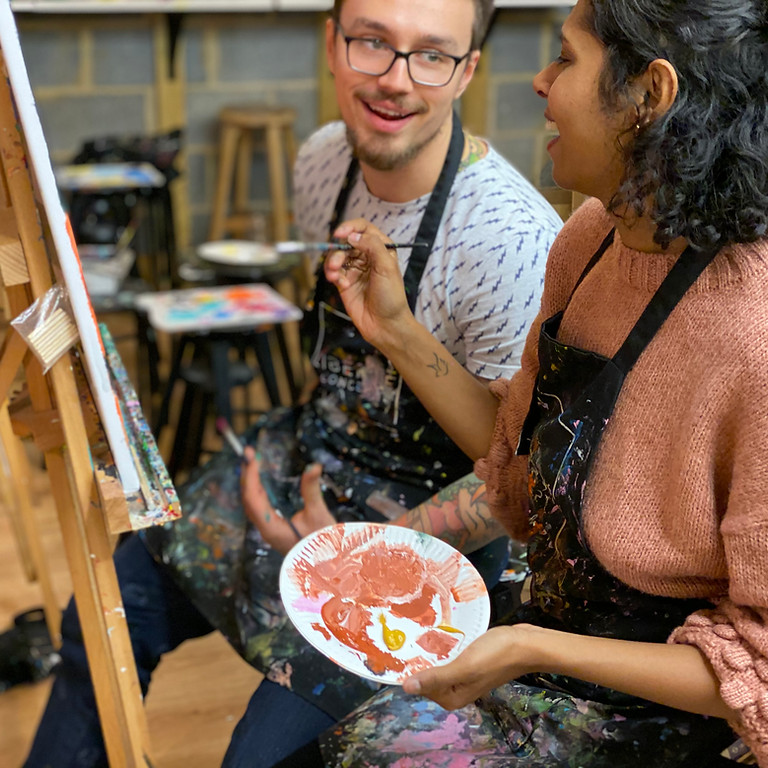 Romantic Couples Painting with Prosecco for Valentine's Day