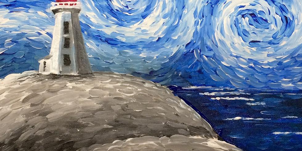 Kids Art Club -Van Gogh Style Lighthouse Landscape