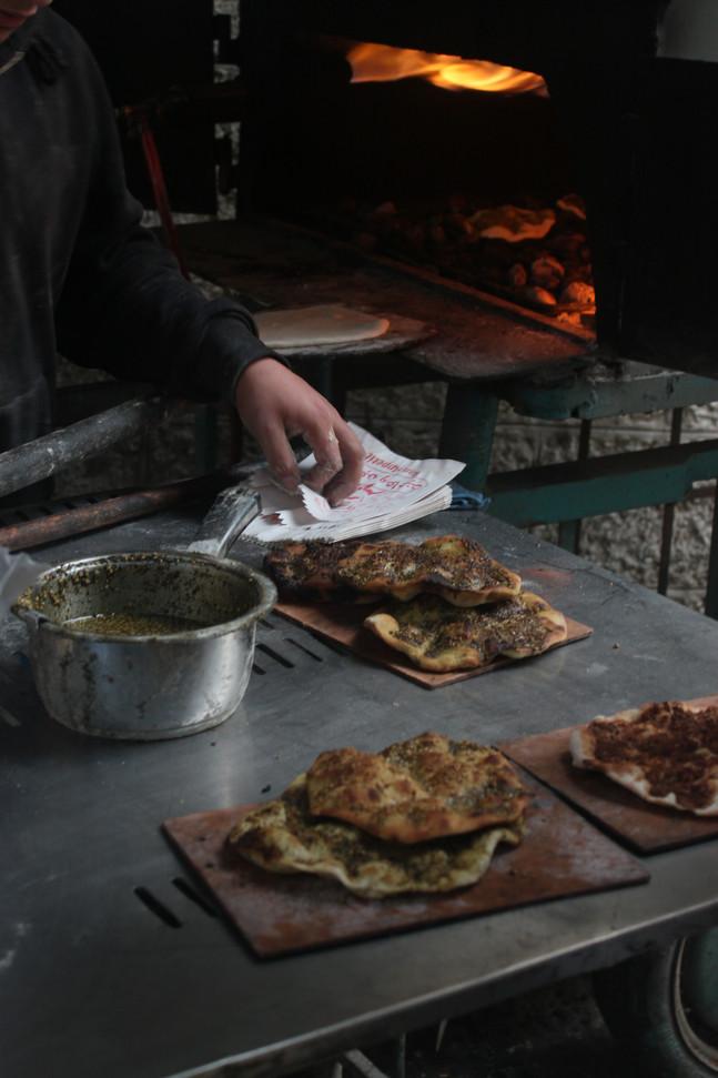 Freshly baked Manakish at the Bethlehem Old Market