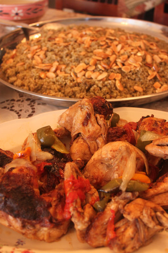 Frikeh and chicken cooked by granny