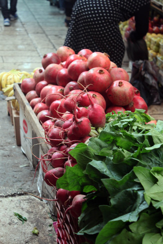 Locally grown vegetable and fruits at the Bethlehem Old Market