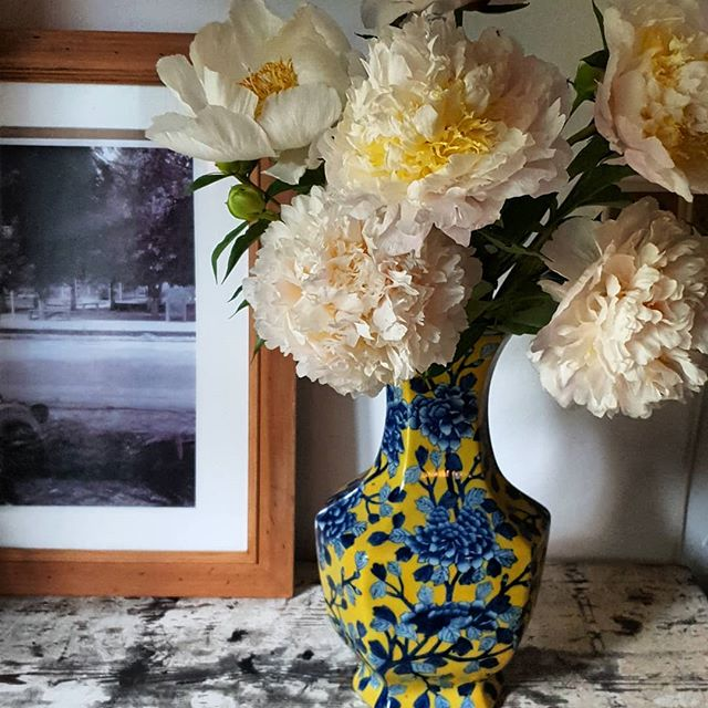 hand painted flowers and fresh peonies C
