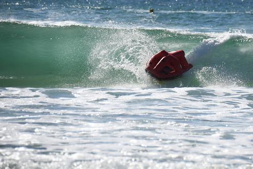 Autonomous rescue boat surfing in Australian wave