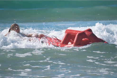Autonomous robot rescuing person in Australian surf
