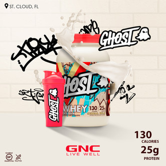 Do not be afraid 👻  Ghost is 100% Whey Protein💪🏽 consists of 90% Whey Protein Isolate, 80% Whey Protein Concentrate👌🏻 and Hydrolyzed Whey Protein Isolate.  Benefits: ✅ Provides 25g proteins ✅Cereal Milk Flavor ✅ Soy Free ✅ Gluten Free ✅ Can use it in, ice cream, oats, smoothies and baked goods ✅ Was conceived to feed savagery around the clock: breakfast, post workout ,throughout the day and before bed.... Go now to GNC, Saint Cloud 📍  #protein #milk #powder #ghost #gnc #workout #strong