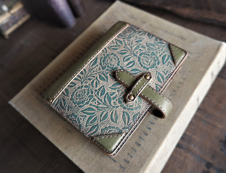 leather binder, sea green blue, light olive, handdyed, old trunk