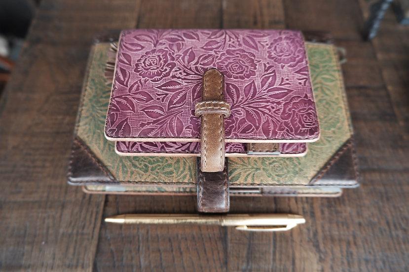 "leather binder, ""rose bush"", russet pink, mini"