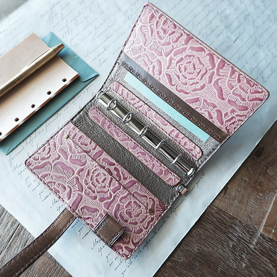 "leather binder, ""layered flower"",  russet pink, mini"