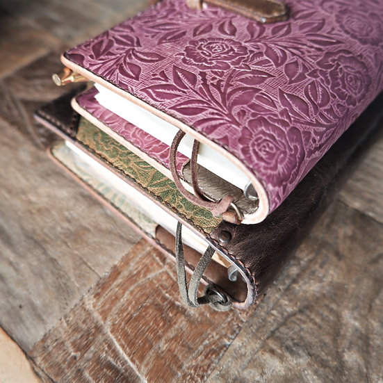 "leather binder, ""rose carpet"", russet pink, hand stitched, B7"