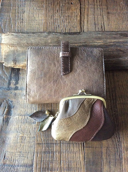 handmade patch work leather coin purse