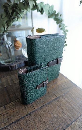 """leather binder, """"rose carpet"""", old forest, mini"""