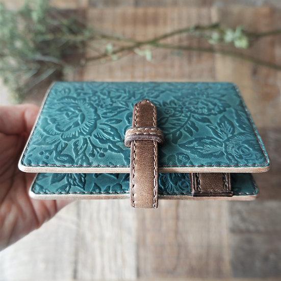"leather binder, ""rose carpet"", smoky mint, mini"