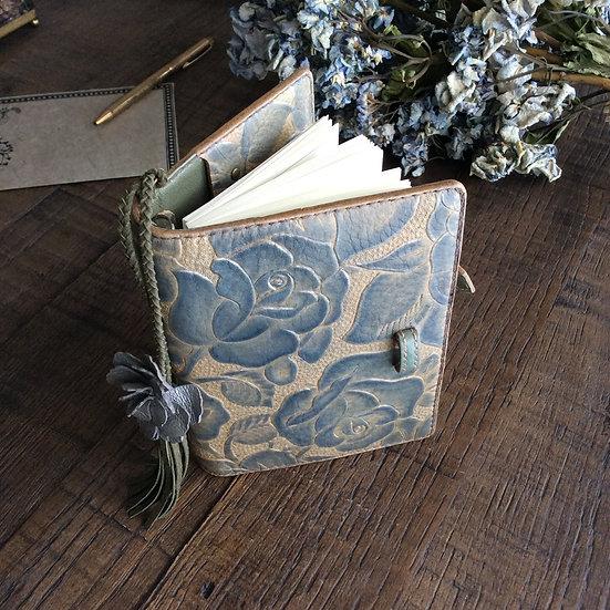 leather binder porcelain blue rose, handdyed, handstitched, one of a kind