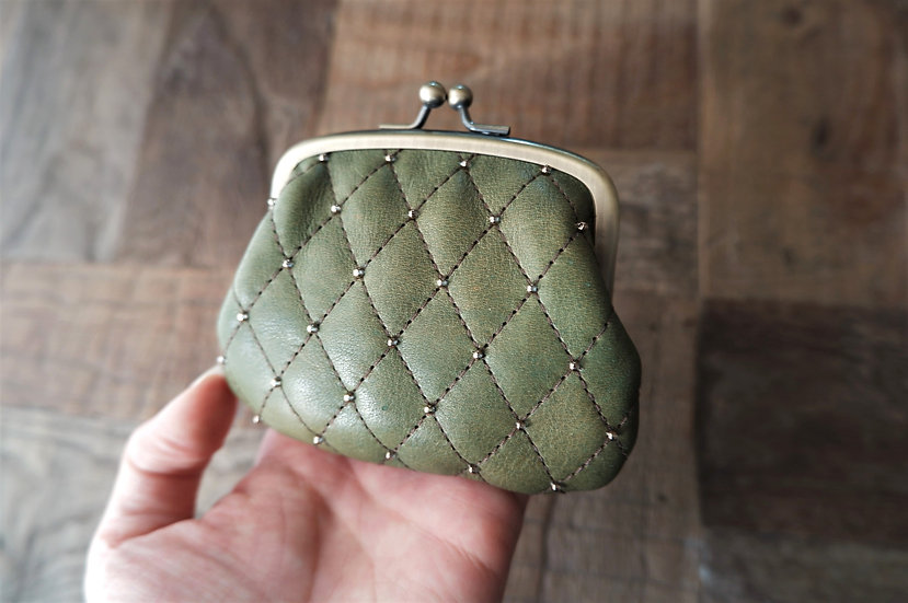 green quilting leather coin purse