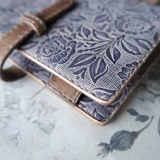 "leather binder, ""rose carpet"", ash lavender, hand stitched, B7"