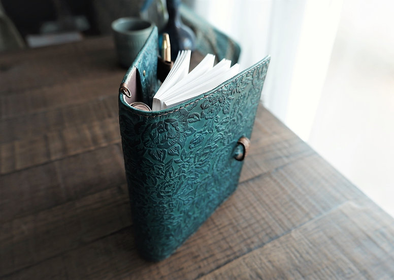 handmade teal leather planner
