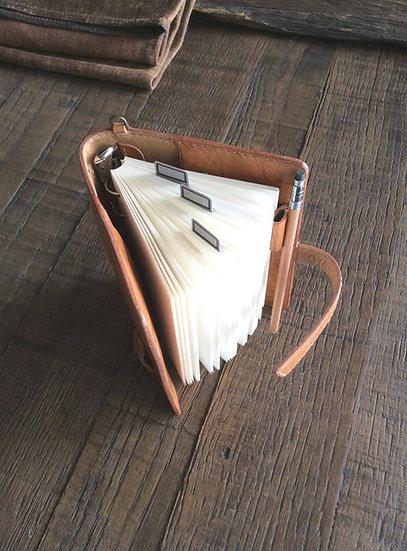 ヌメ革のシステム手帳 ハンドメイド ナチュラル ミニ6穴