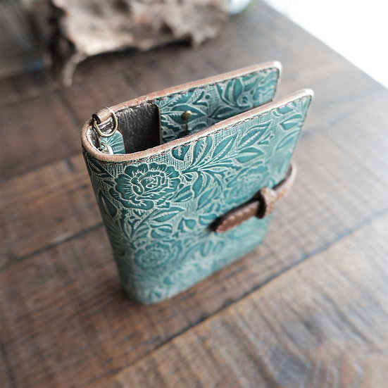 "leather binder, ""rose bush"", smoky mint, mini"