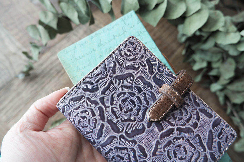 "leather binder, ""layered flower"", grape vine, mini"