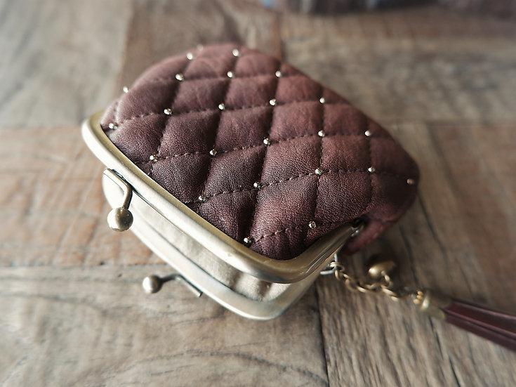 チョコレート色のがま口 レザー ハンドメイド