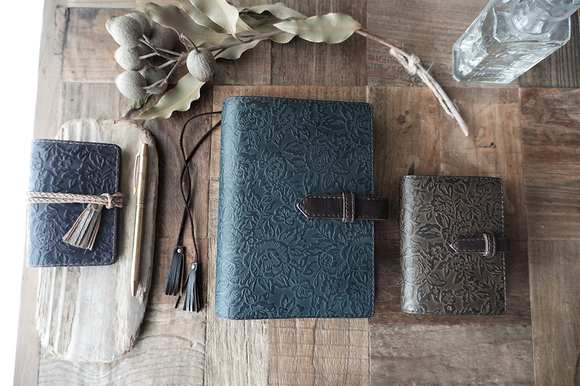 leather planner, indigo gray, hand dyed, A6