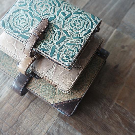 leather binder, layered flower, sea green, mini