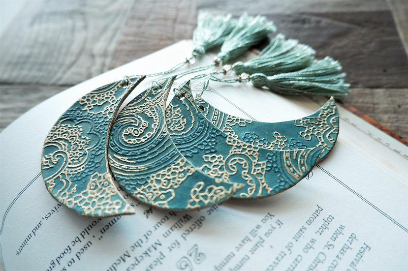 leather bookmark / moon /sea green