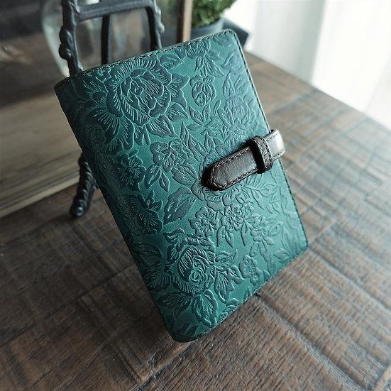 "leather binder, ""rose carpet"", old lake blue green, handdyed, veg tanned, B7"