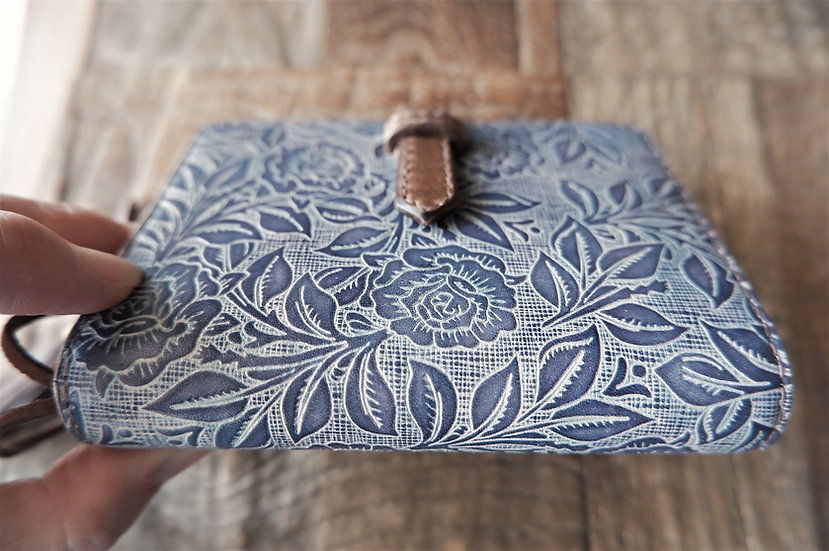 "leather binder, ""rose bush"", ash lavender, mini"