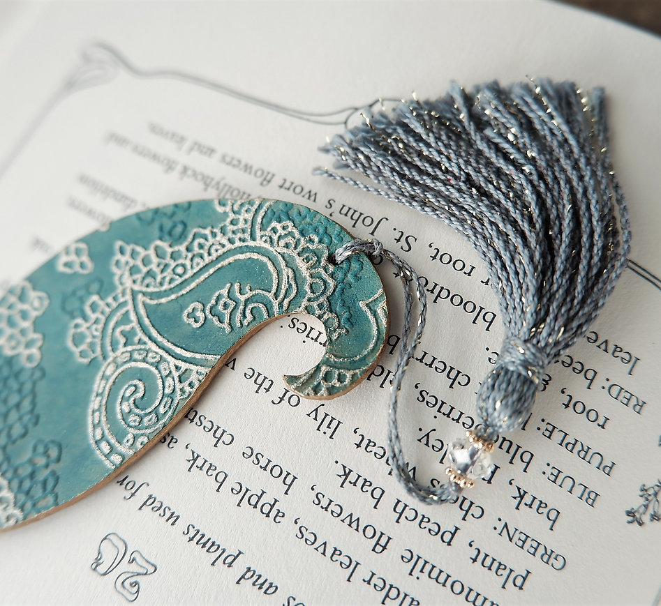 leather bookmark /paisley / sea green