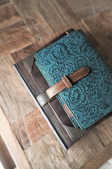 leather binder, flower carpet, handdyed, ash turquoise, hand stitched, B7