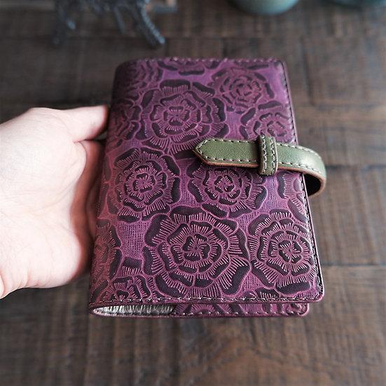 leather binder, layered flower, handdyed, old fuchsia, hand stitched, B7