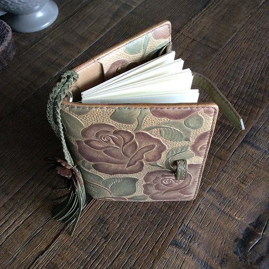 leather binder, russet rose, handdyed, handstitched