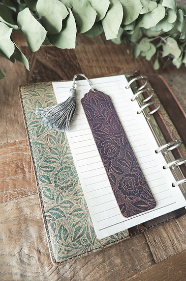 leather bookmark /rose bush /old lavender