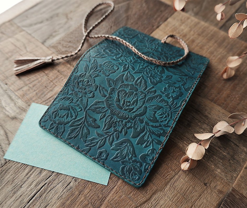 leather card holder, flower carpet, old lake blue, hand dyed, veg tanned
