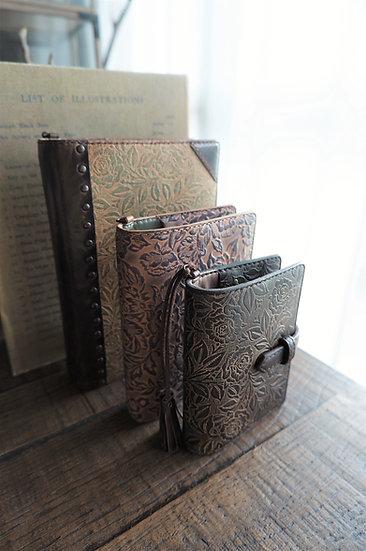 "leather binder, ""rose bush"", bitter brwon, mini"