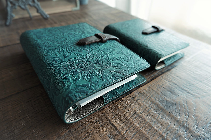 handmade green leather planner