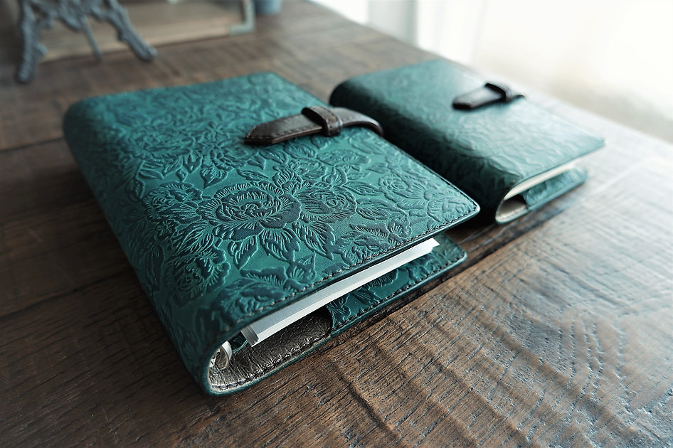 leather planner, old lake green, hand dyed, A6