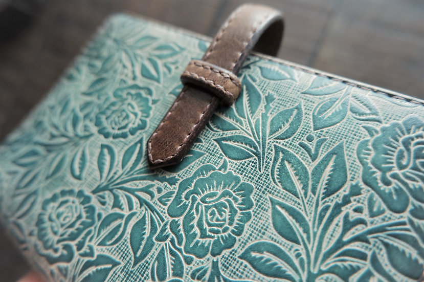 "leather binder, ""rose carpet"", smoky mint, hand stitched, B7"