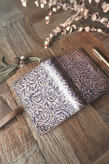purple leather planner, rose planner, handmade leather binder