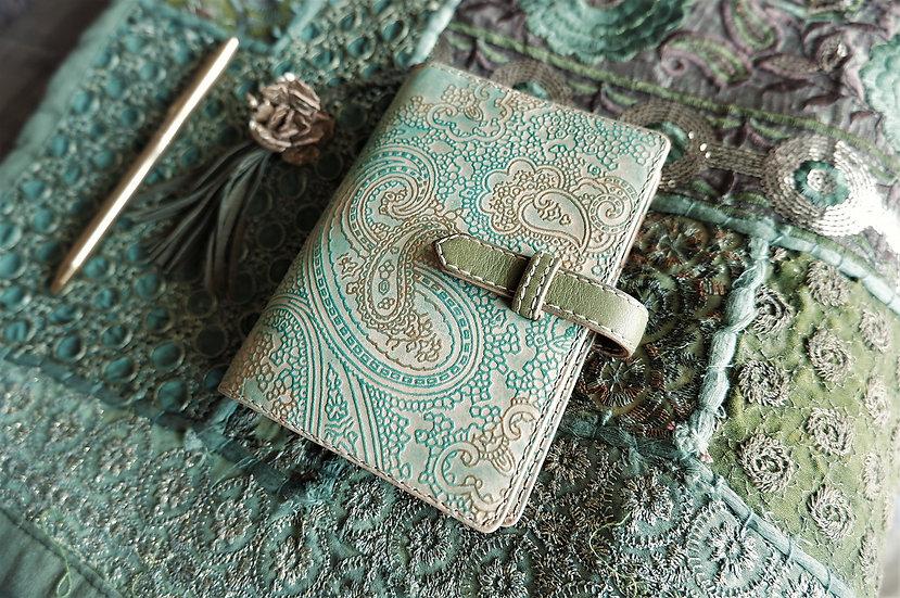 ペイズリーのシステム手帳 ヌメ革 水色