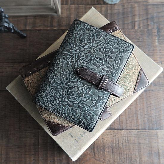 leather binder, flower carpet, handdyed, old slate, hand stitched, B7
