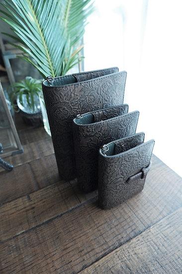 "leather binder, ""rose carpet"", bitter brown, mini"