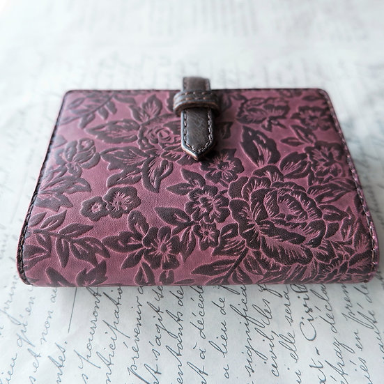 "leather binder, ""rose carpet"",  old black berry, mini"