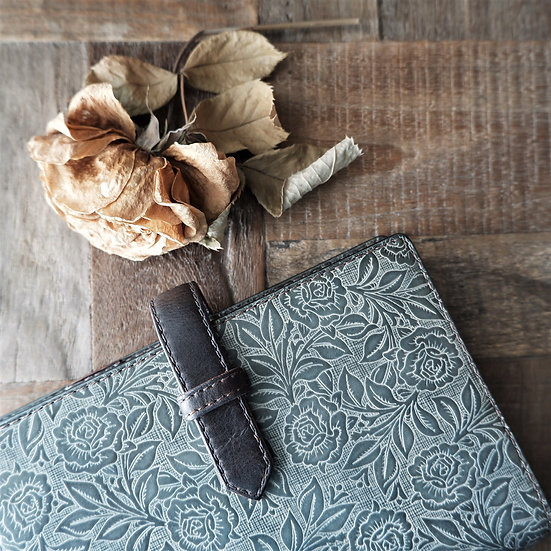 leather planner, ash gray, hand dyed, A6