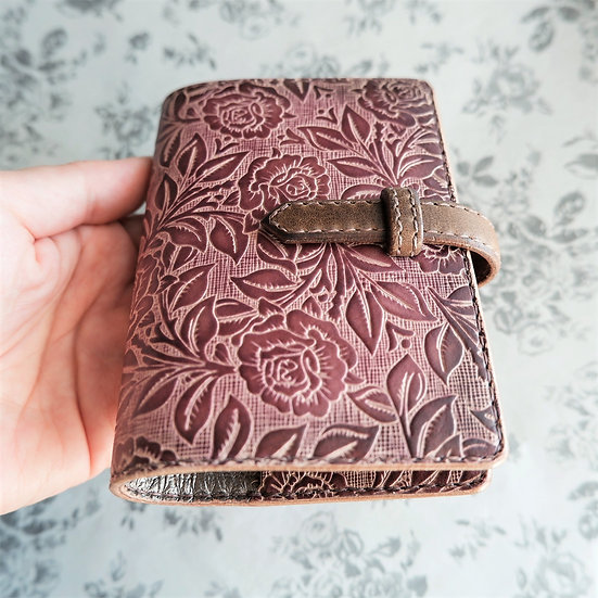 "leather binder, ""rose bush"", burgundy, mini"