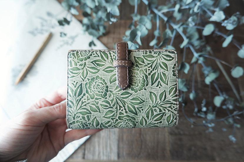 "leather binder, ""rose bush"", green tea, mini"