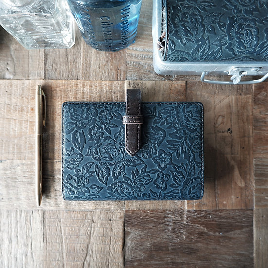 leather binder, flower carpet, handdyed, indigo gray, hand stitched, B7