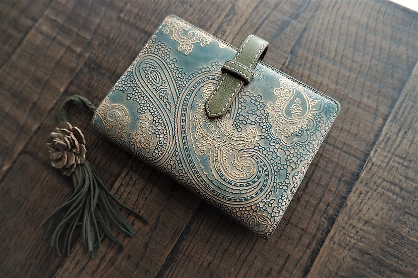 blue paisley leather planner, handmade leather planner