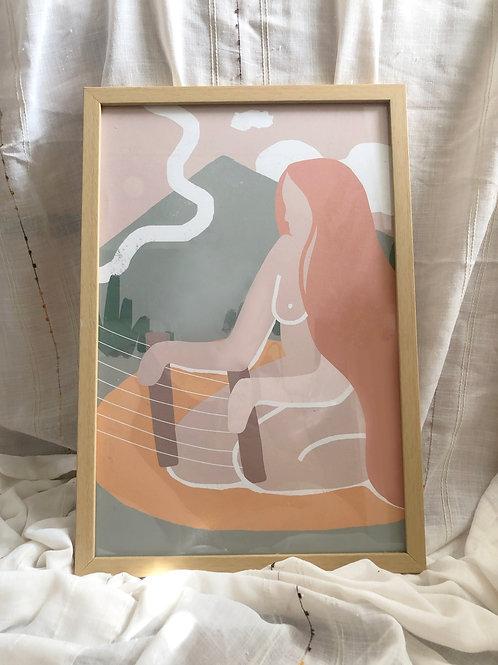 12x18 ALBAY ART PRINT FRAMED IN  RAW BEECH